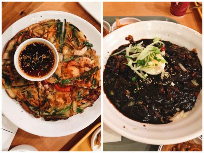 Kbop Korean Bistro Minneapolis: Seafood pancake and jajangmyeon.