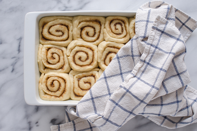 The risen rolls in the pan with a dish towel partly covering it.