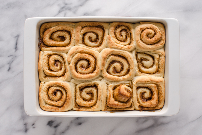 The baked rolls from above in a pan.