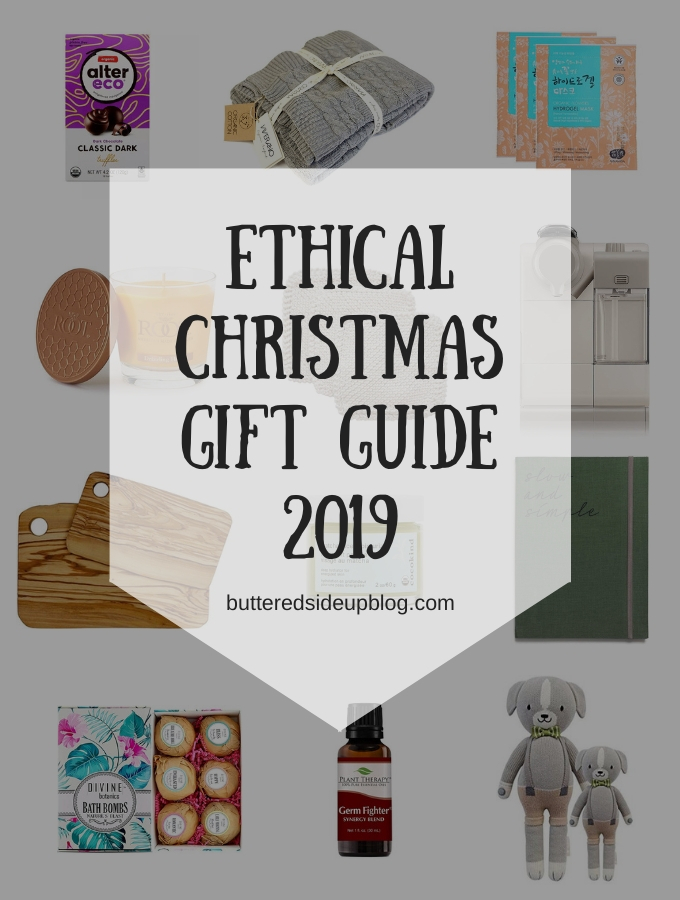 "A collage of gift ideas and the words ""Ethical Christmas Gift Guide 2019"""