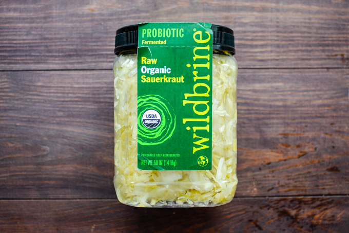 Huge jar of Wildbrine sauerkraut.