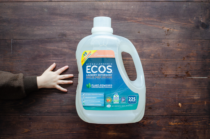 Large bottle of ecos laundry detergent from Costco.