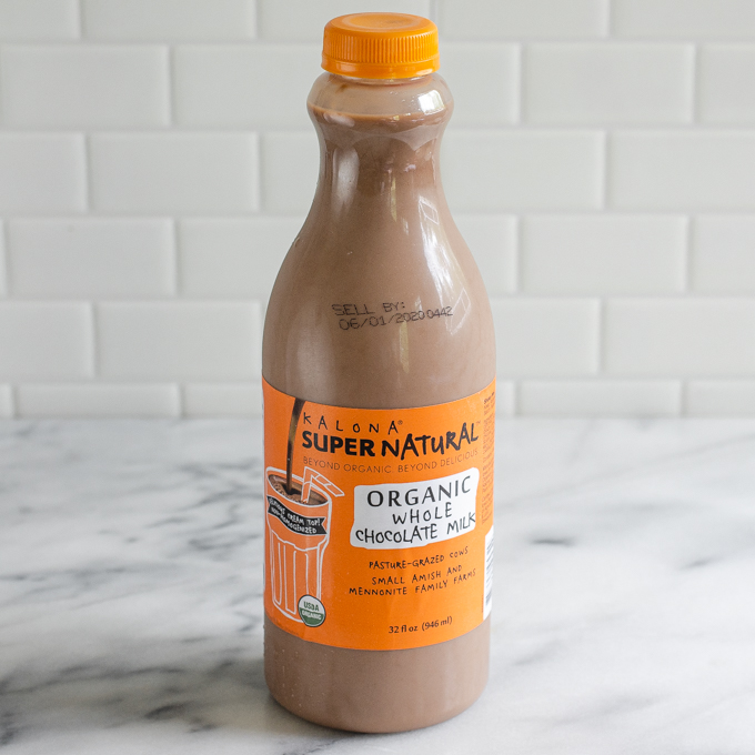 A bottle of Kalona SuperNatural organic chocolate milk.