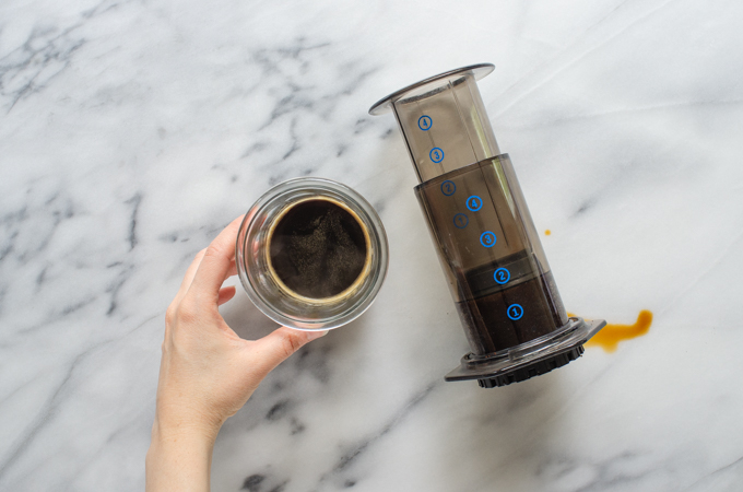 Freshly brewed Aeropress coffee.