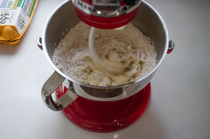 Mixing the dough with the dough hook.