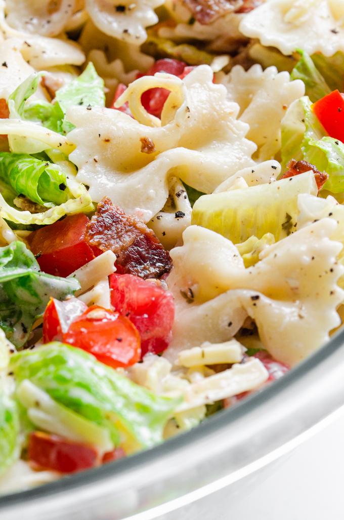 Close-up shot of the BLT bowtie pasta salad.