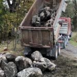 Dump truck and rocks