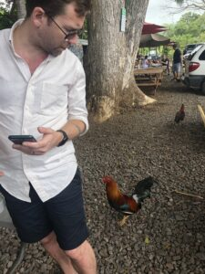 rooster following a man.
