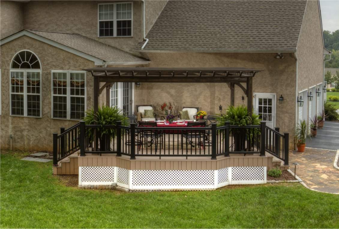 Traditional Wood Pergola, Cinder Stain