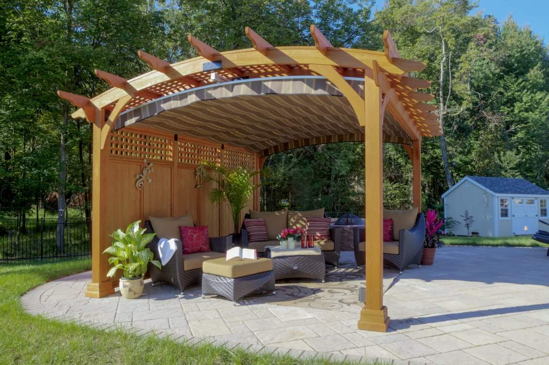 Hearthside Pergola, Lattice Roof, Privacy Wall