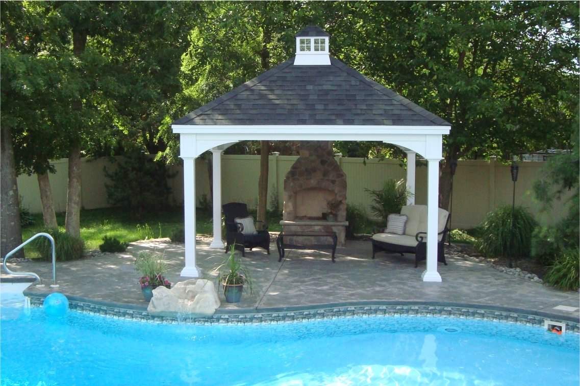Traditional Pavilion with Brick Fireplace