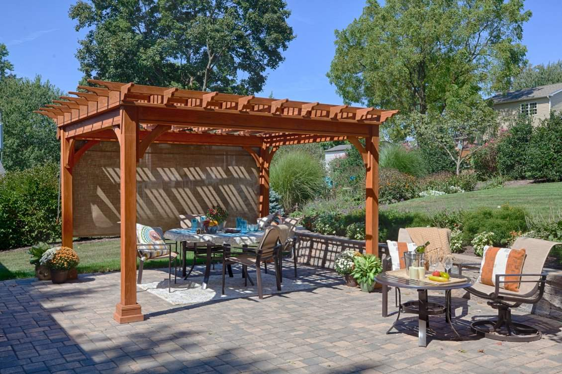 Traditional Wood Pergola, Canyon Brown Stain