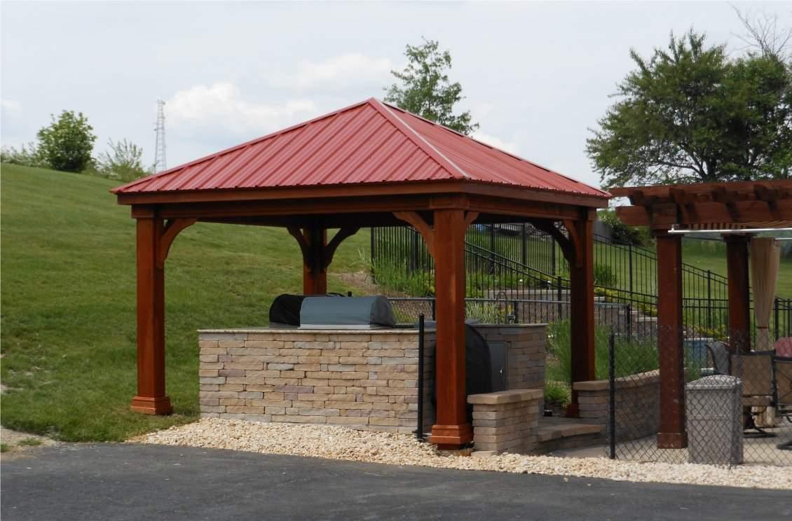 Wood Pavilion Ribbed Metal Roof