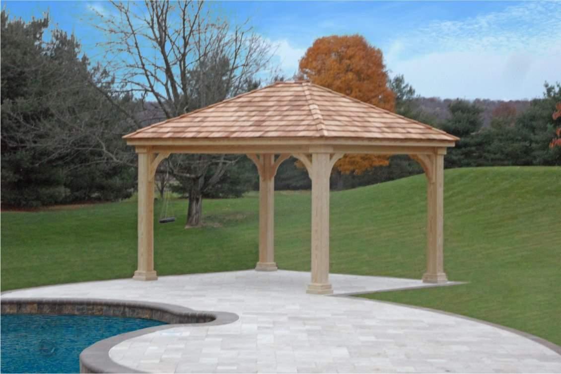Traditional Wood Pavilion with cedar shake shingles