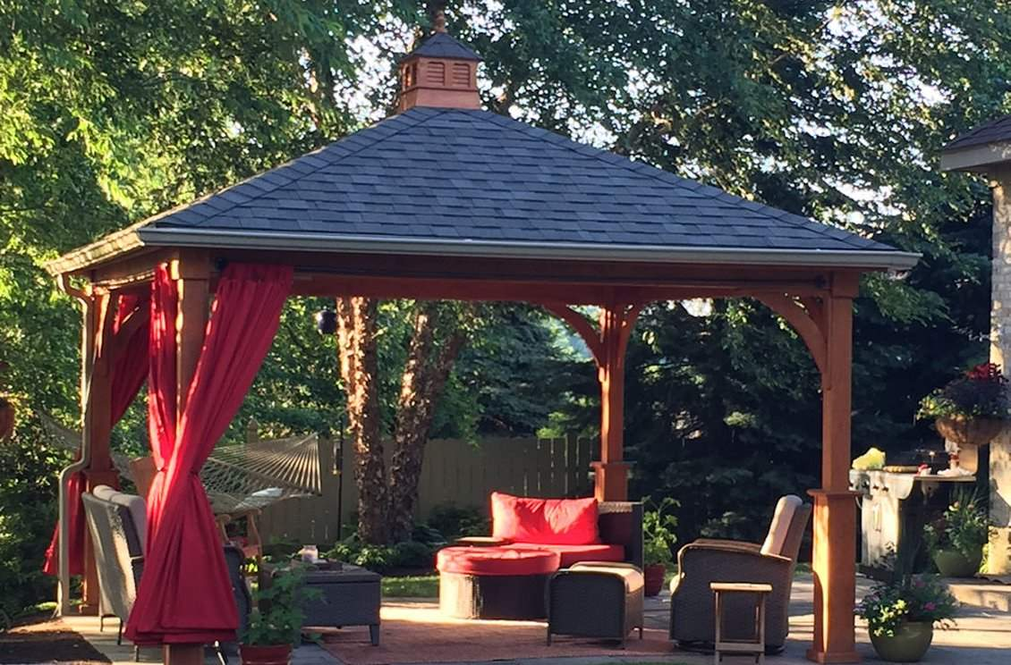 Traditional Wood Hip Roof Pavilion