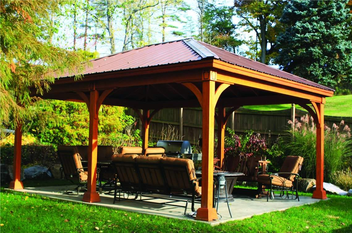 16' x 20' Traditional Wood Pavilion, 6x6 posts