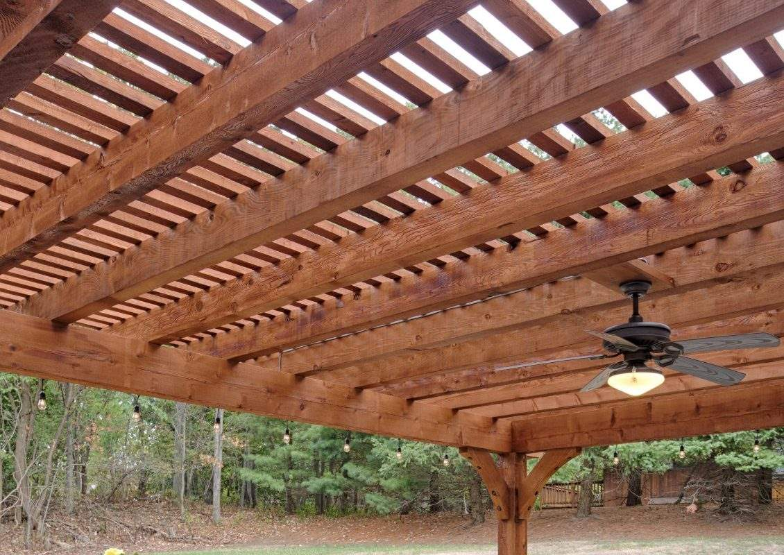 Kingston Pergola, Canyon Brown Stain Ceiling