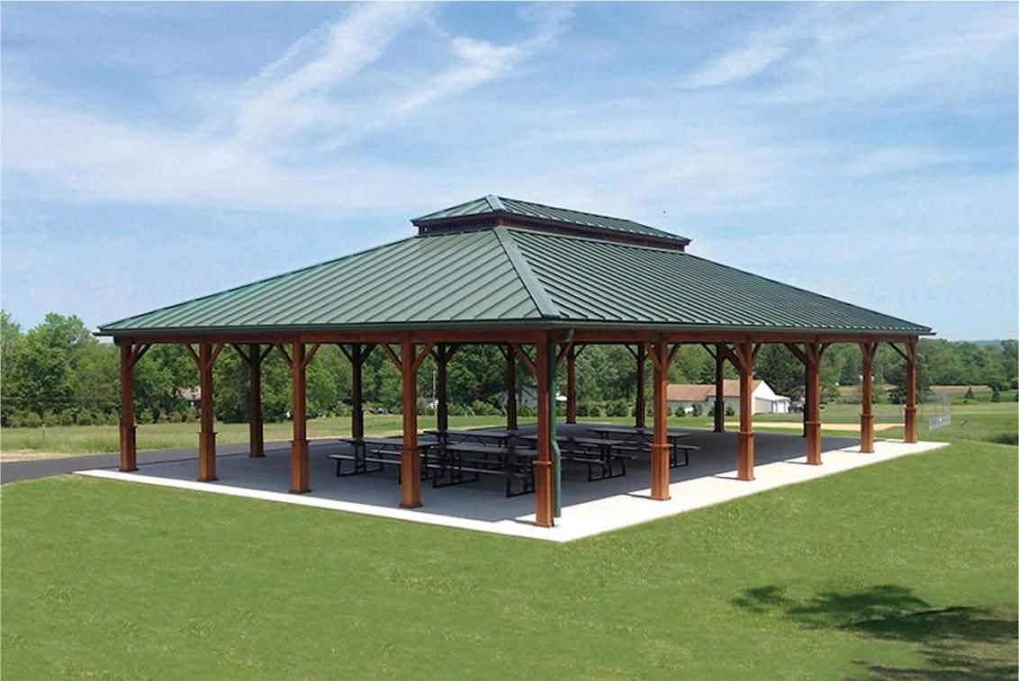 Large Custom Wood Pavilion, metal double roof