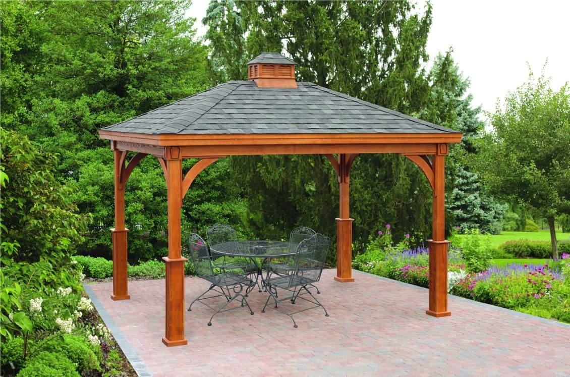 Traditional Wood Pavilion with superior posts