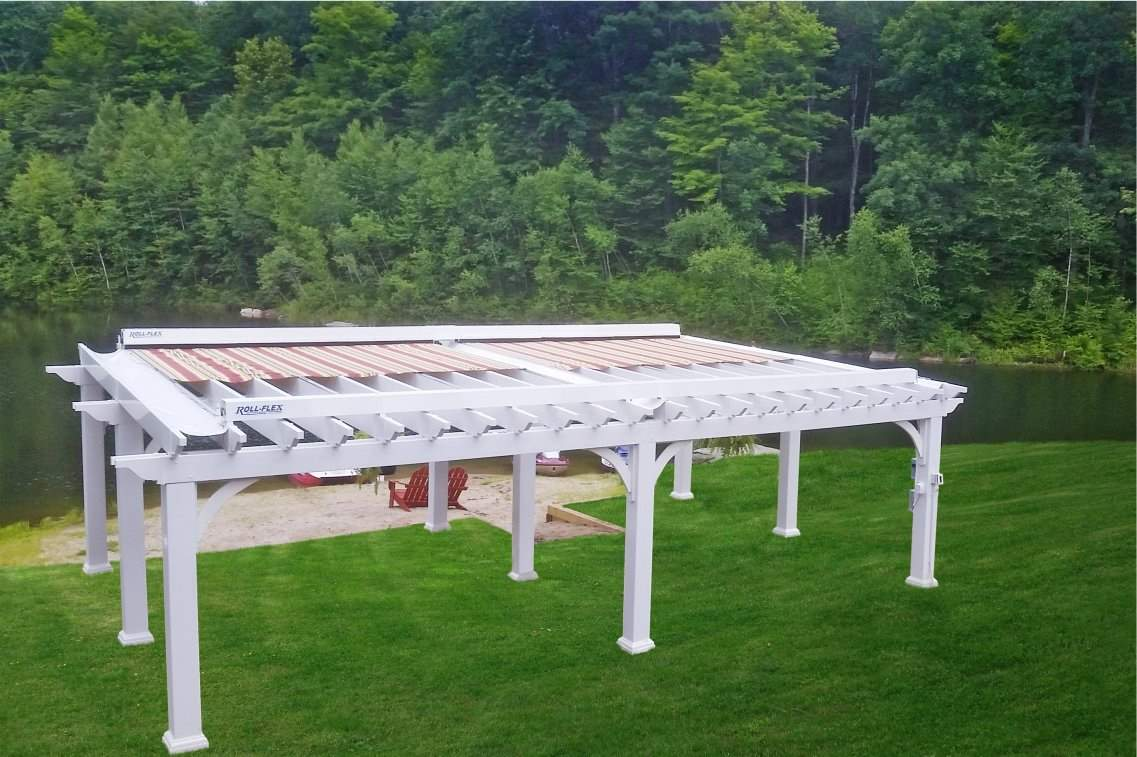 Traditional Vinyl Pergola with RollFlex Canopy