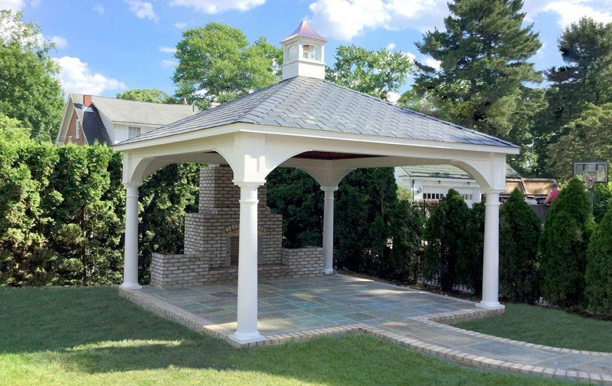 Traditional Vinyl Pavilion with fireplace