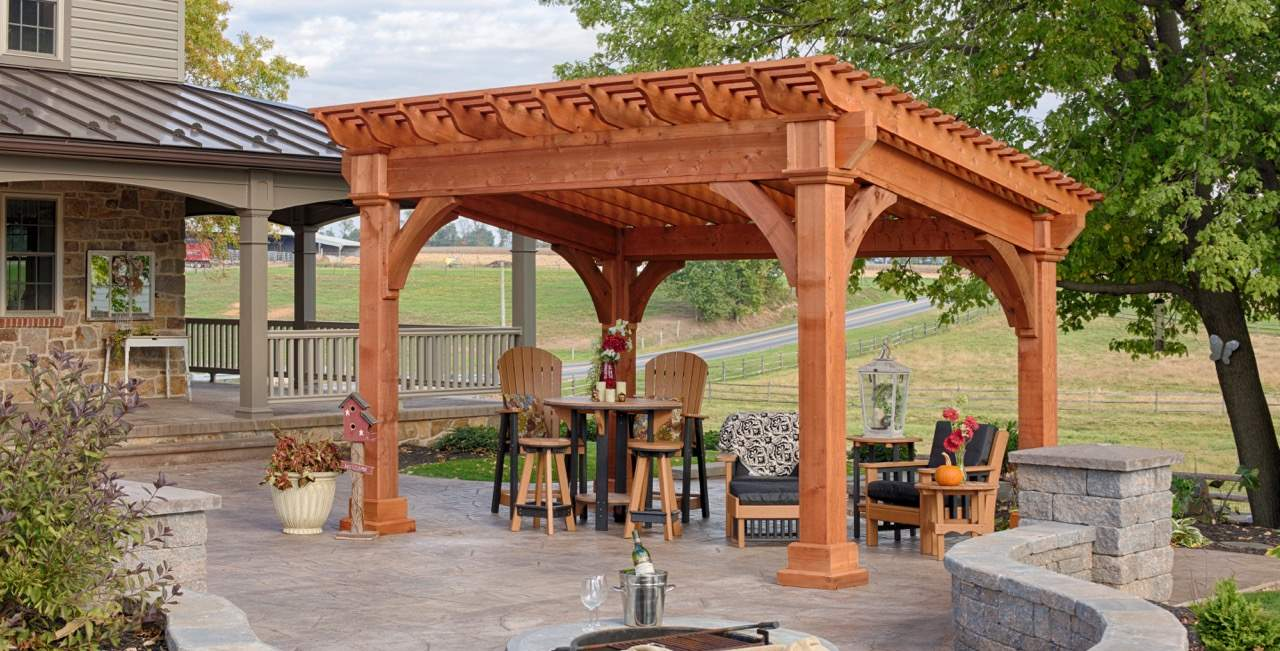 Cedar Santa Fe Timber Frame Pergola