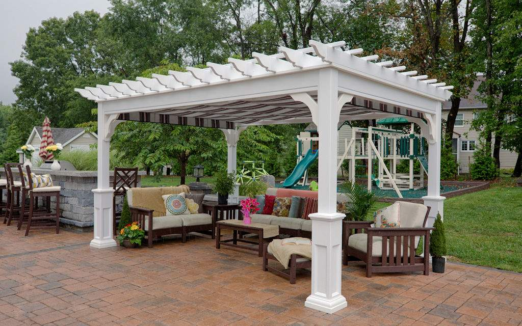 Traditional White Vinyl Pergola
