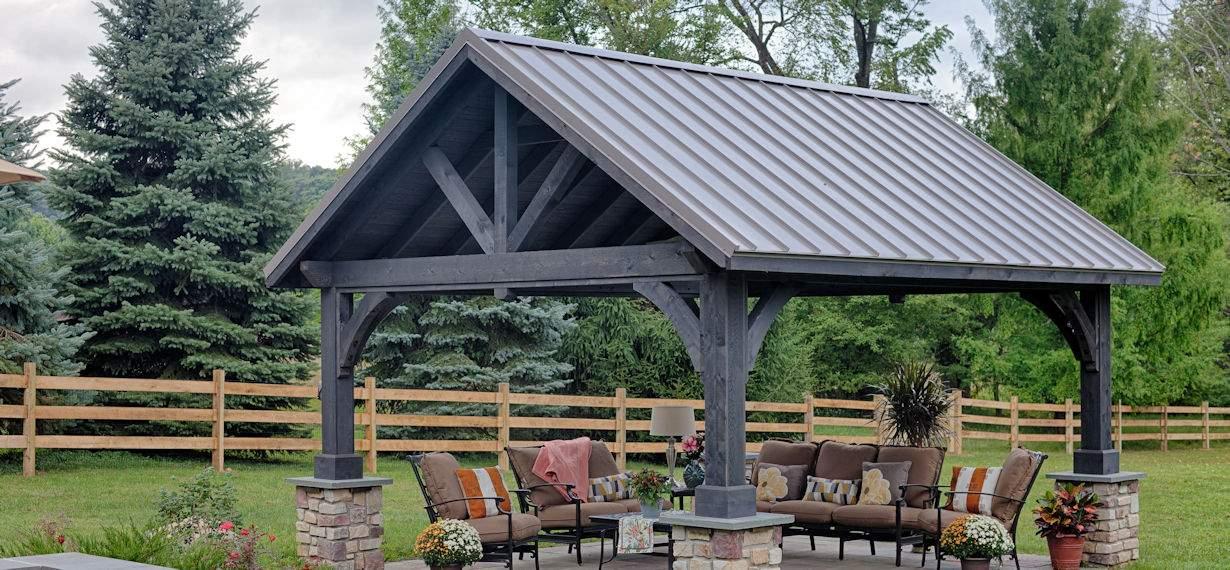 14'x16' Alpine Cedar Wood Pavilion, Cinder Stain, Slate Gray Standing Seam Metal Roof, Custom Roof Pitch
