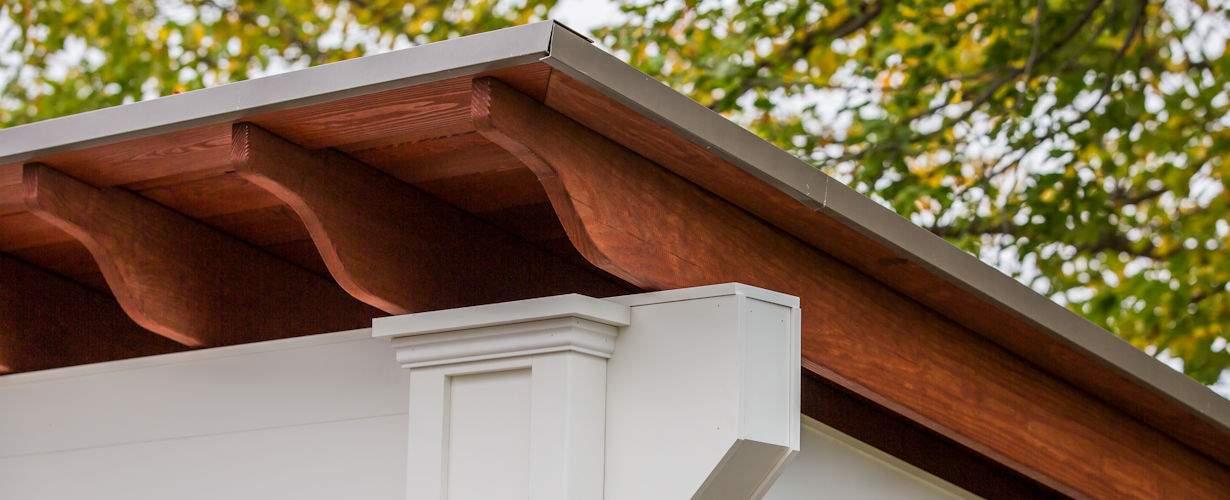 Santa Fe Pavilion vinyl wood and metal roof top