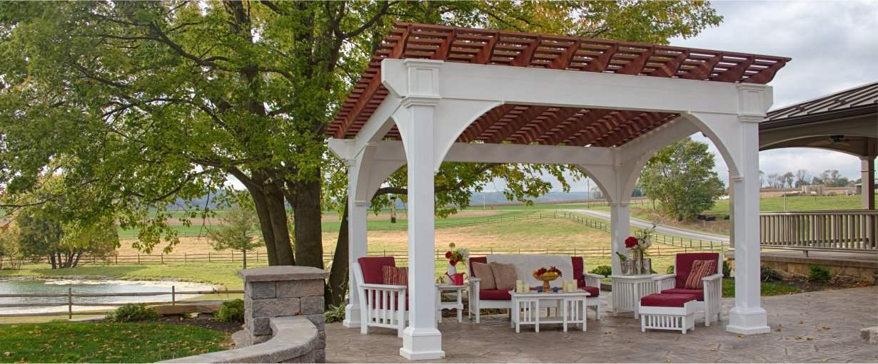 Santa Fe Vinyl Pergola Country Setting