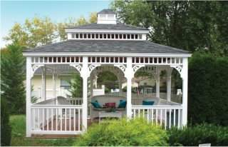 10' x 12' White Vinyl Gazebo with Double Roof
