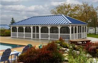 20' x 40' Rectangle White Vinyl Gazebo - 5x5 Posts - Gallery Blue Standing Seam Roof- Screens