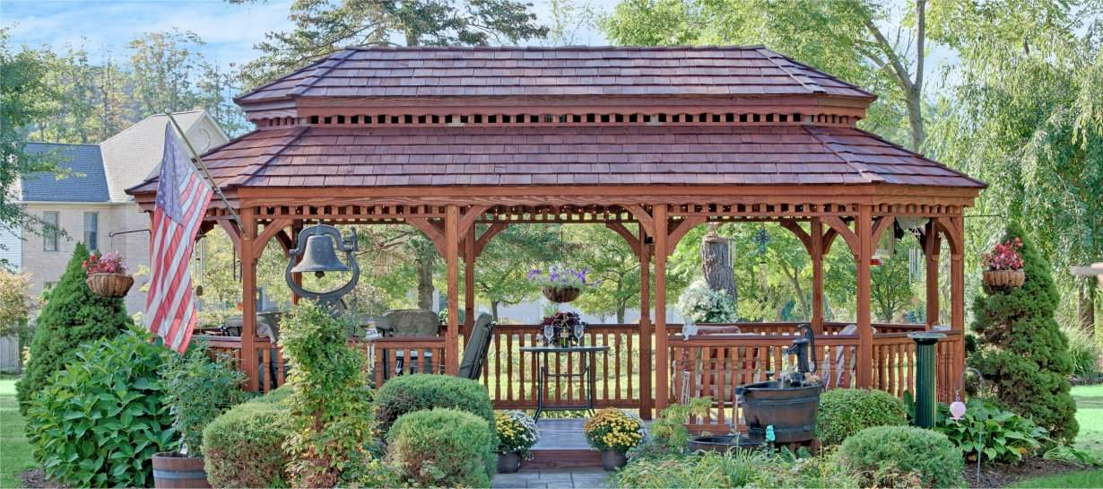 12' x 24' Oval New England Style Wood Gazebo, Pagoda Roof, Cedar Shakes, Canyon Brown Stain
