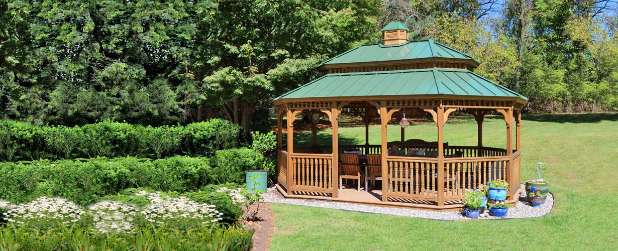 14' x 20' Oval - New England Style Gazebo - Pagoda Roof - Cupola - Standing Seam Metal Roof