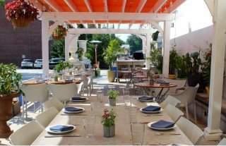 Jockey Hollow Restaurant Pergolas with rollflex canopy
