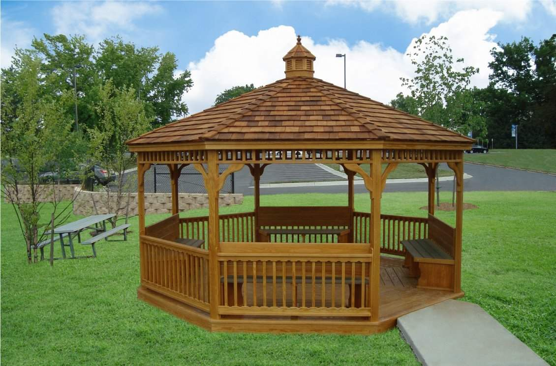 16' Classic Wood Gazebo with Benches