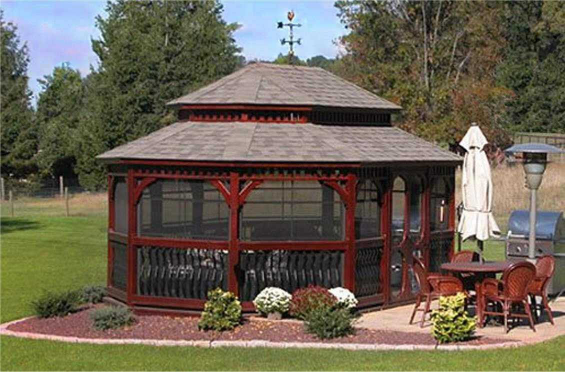 Oval Wood Gazebo double roof