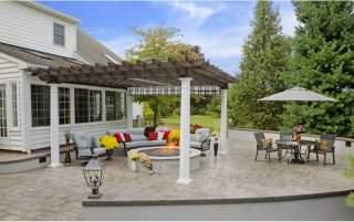 14' x 16' Artisan Cedar Pergola - Cinder Stain - 10in Round Columns - Grey Black White EZ Shade Canopy