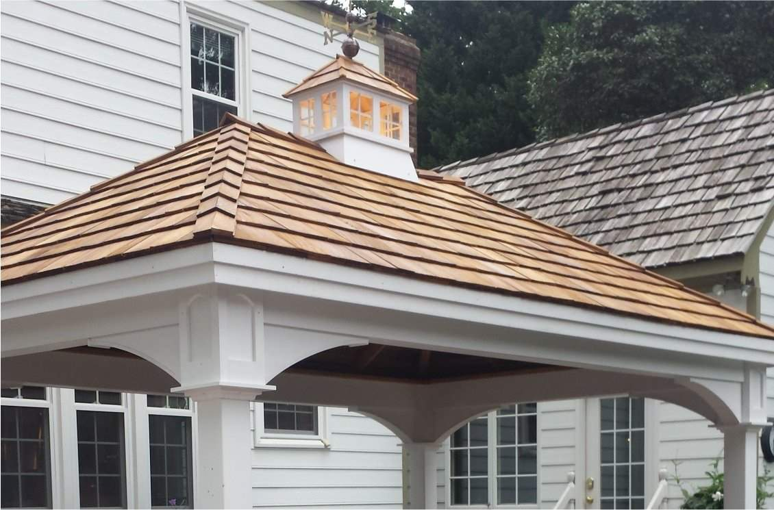 Traditional Vinyl Pavilion, Cedar Shake Shingles, Cupola