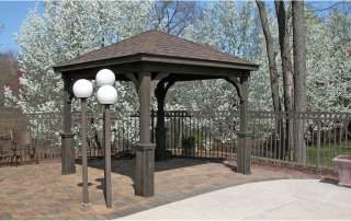 10' x 10' Tradition Wood Pavilion, 5 in superior posts, cinder stain, dual brown shingles