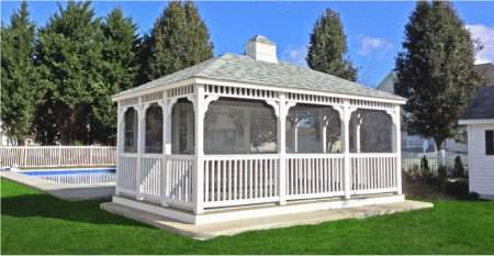 12' x 16' Vinyl Rectangle Gazebo with screen package