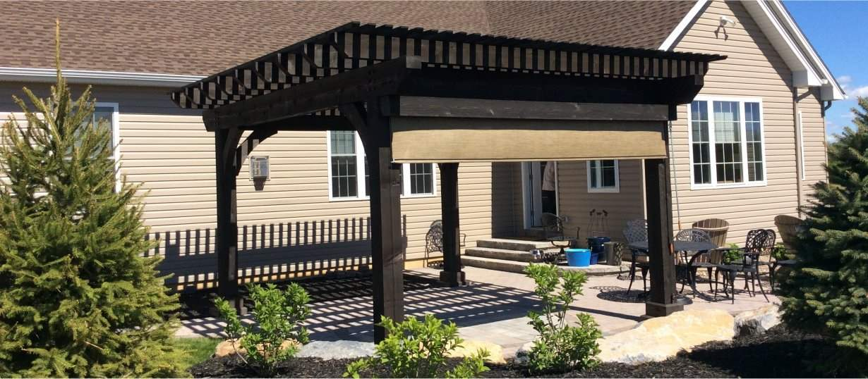 14' x 16' Kingston Pergola with Cinder Stain EZ shade