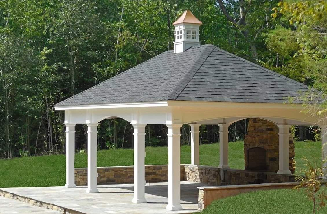 16' x 24' Custom Vinyl Pavilion, Dual Black Shingles, Fairfield Cupola