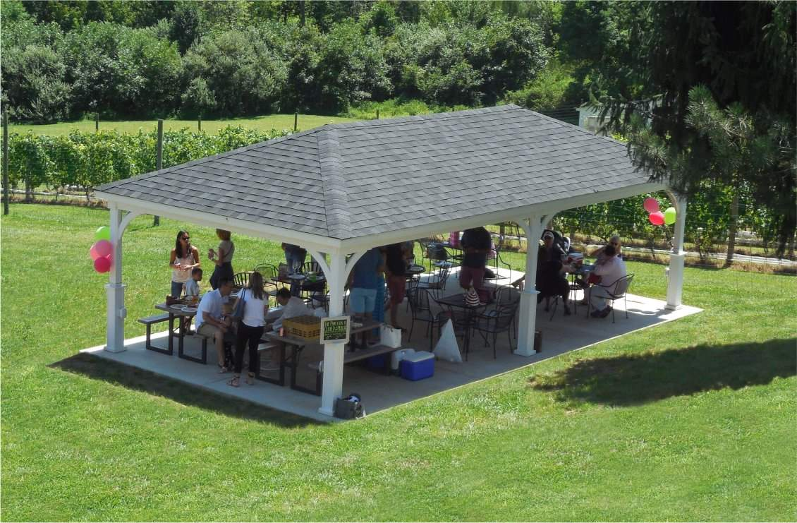16 ' x 32' Hip Roof Wood Pavilion, 5x5 superior post skirts, shadow Black Shingles