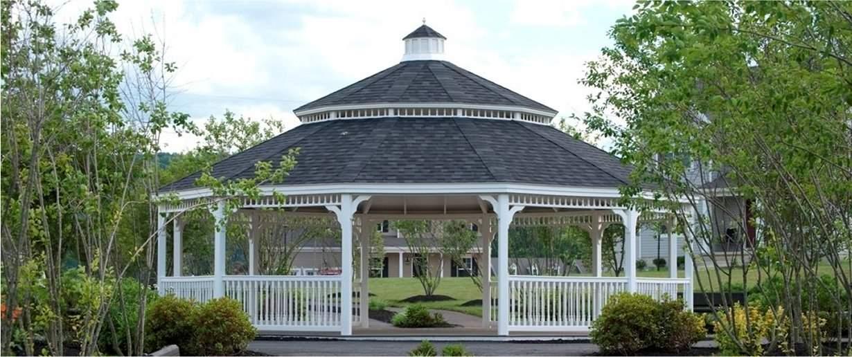 Dodecagon Vinyl 30' Pavilion, double roof, harvard slate shingles