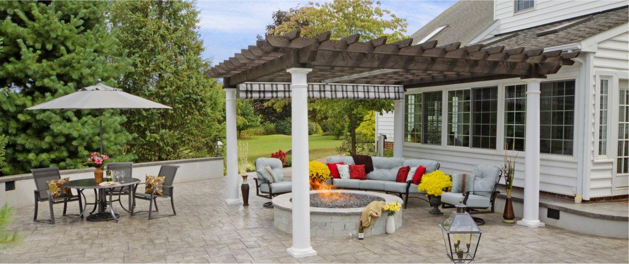 14' x 16' Artisan Cedar Pergola 10in Round Columns EZ Shade Canopy
