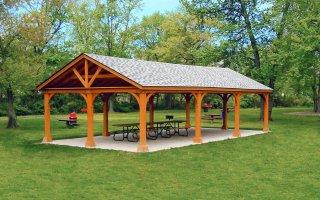 20' x 40' A Frame Open Gables Wood Pavilion