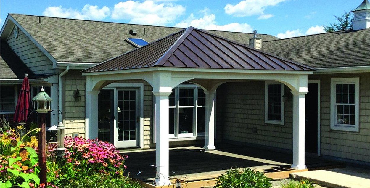 12x12 Vinyl Pavilion with 8x8 posts Dark Bronze Metal Roof