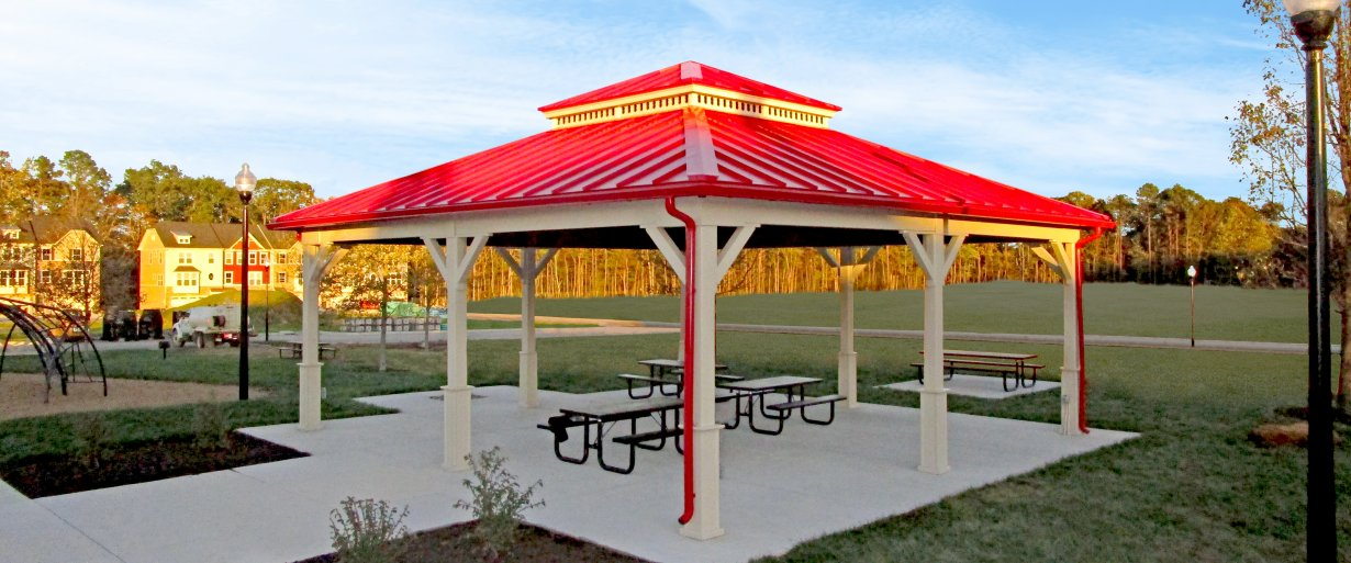 30 x 30 Wood Paviion with bright red standing seam metal roof
