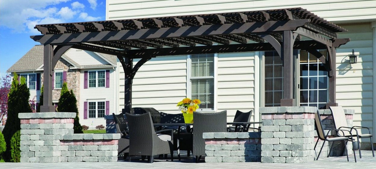 Wood Pergola with Cinder Stain